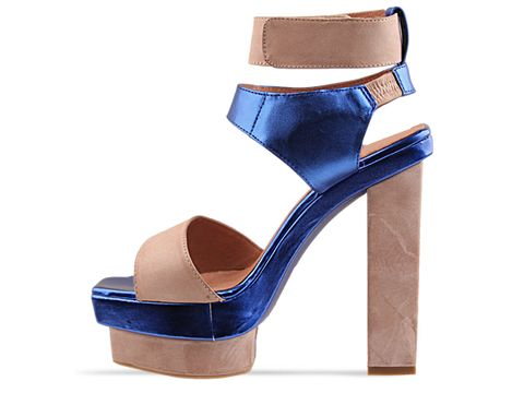 Jeffrey Campbell In Beige Blue Metallic Velez