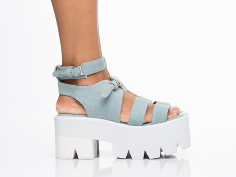 Jeffrey Campbell In Light Blue Denim White Weymouth