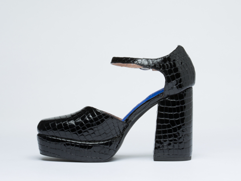 Jeffrey Campbell In Black Patent Croco Zelda
