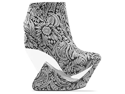 Jeffrey Campbell In Black Gold Floral Fabric Zoom