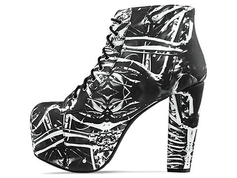 Jeffrey Campbell X BlackMilk In Bone Machine Lita Fab