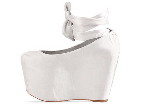 Jeffrey Campbell X Wildfox In Satin White Ballet Platform