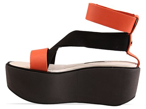 Jil Sander Navy In Orange Elastic Platform Sandal
