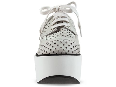 Jil Sander Navy In Light Grey Leather Perf Lace Up Platform