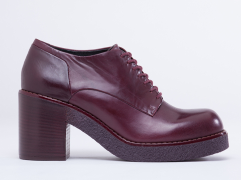 Jil Sander Navy In Bordo Monochrome Lace Up Bootie