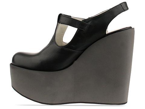 Jil Sander Navy In Black Grey Wedge Buckle Shoe