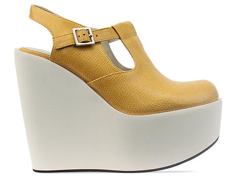Jil Sander Navy In Yellow White Wedge Buckle Shoe