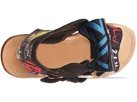 K.T.Z. In Beige Black Multi Digital Patchwork Sandal