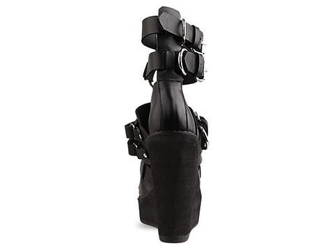 K.T.Z. In Black Harness Rubber Wedge Sole
