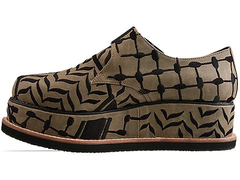 K.T.Z. In Olive Black Mens Shoes Embroidered