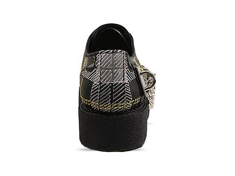 K.T.Z. In Black Tartan Shoes With Chain