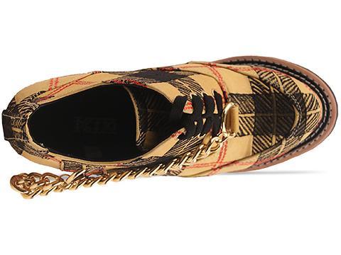 K.T.Z. In Yellow Tartan Wedge Shoe
