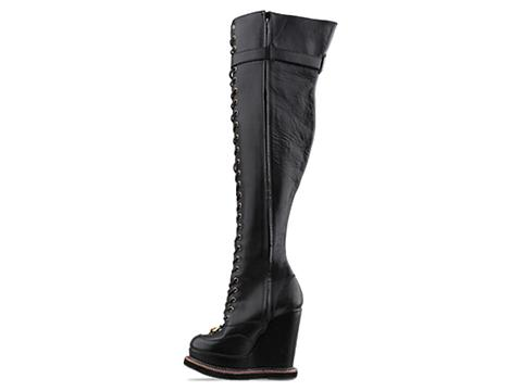 K.T.Z. In Black Thigh High Lace Up Boots
