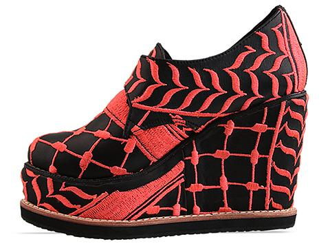 K.T.Z. In Black Neon Pink Womens Shoes Embroidered