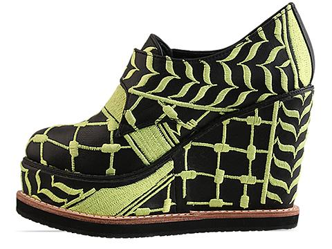 K.T.Z. In Black Neon Yellow Womens Shoes Embroidered