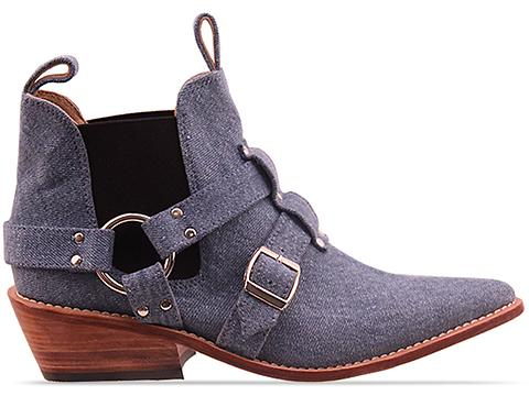 Lasskaa In Dark Vintage Denim Cowboy Biker Boot