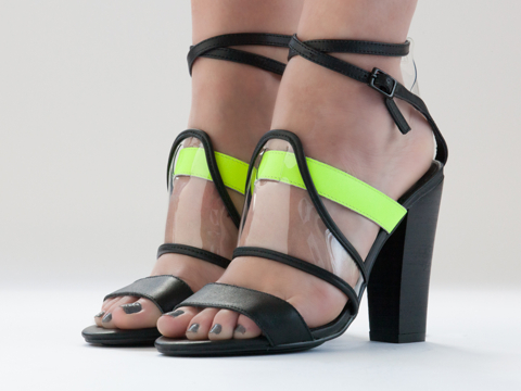 LoveMade X Solestruck In Neon Yellow Black Charming Heel