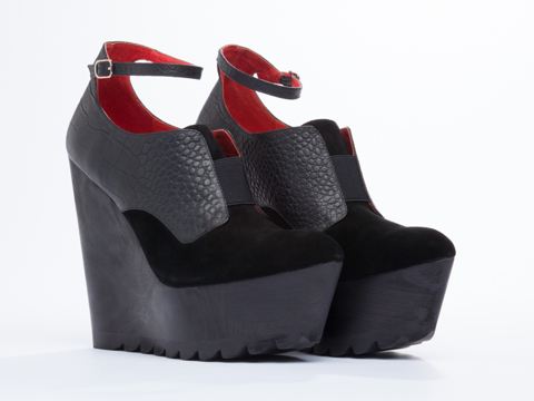 LoveMade X Solestruck In Black Black Fever Wedge