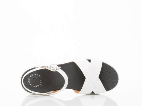 Marc by Marc Jacobs In White Tech Cross Sandal