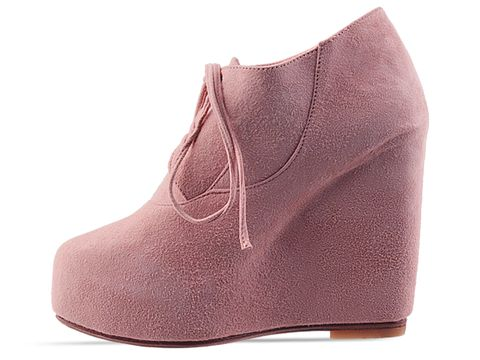 Maurie and Eve In Pink Suede Fantasies Wedge Heels