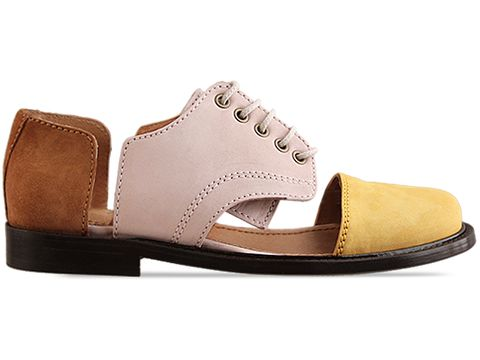 Minimarket In Brown Yellow Beige Flat Lace Up Cut Out