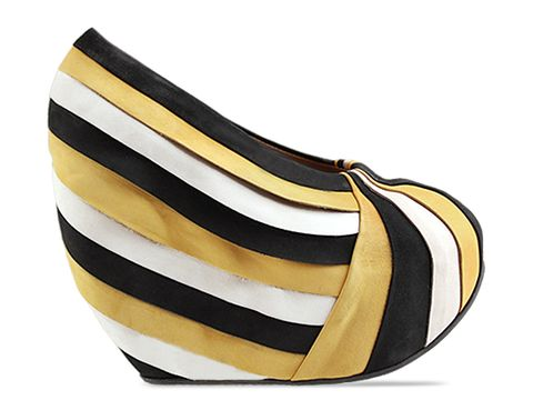 Minimarket In Black Yellow White Pleated Pump