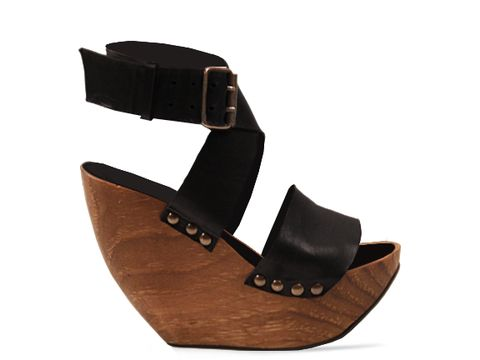 Minimarket In Black Space Shoe Wood Wedge Sandal