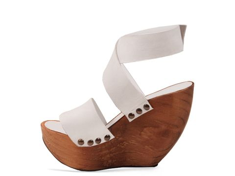 Minimarket In White Space Shoe Wood Wedge Sandal