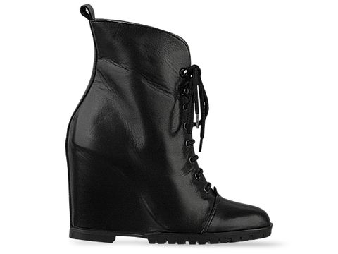 Minimarket In Black Leather Wedge Boot