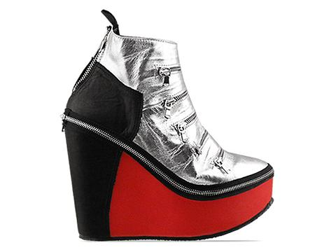 Miroike In Silver With Black Or Red Zip Shoo Short Ankle Full Zip