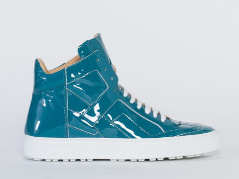 MM6 Maison Martin Margiela In Turquoise Patent Patent Leather Sneaker