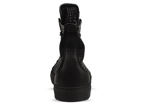 MM6 Maison Martin Margiela In Black Leather Perforated High Top Sneaker