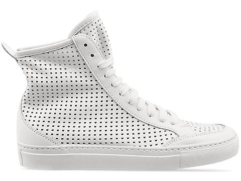 MM6 Maison Martin Margiela In White Leather Perforated High Top Sneaker