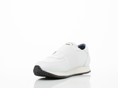 Opening Ceremony In White Calf Leather Elastic Arrow Sneaker Mens