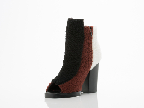 Opening Ceremony In Henna Multi Shearling Elise Open Toe Bootie