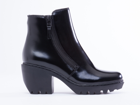 Opening Ceremony In Black Leather Grunge Double Zip Bootie