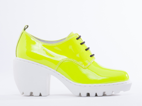 Opening Ceremony In Fluo Yellow Patent Grunge Oxford