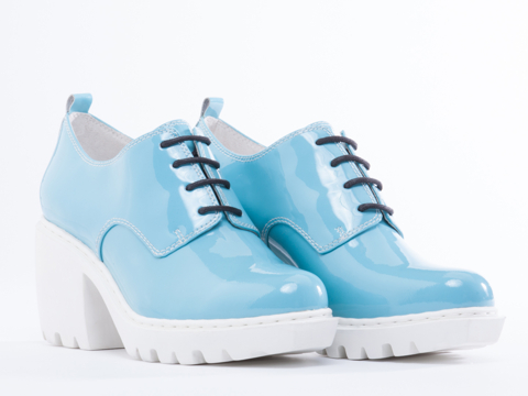 Opening Ceremony In Sky Blue Pearl Patent Grunge Oxford