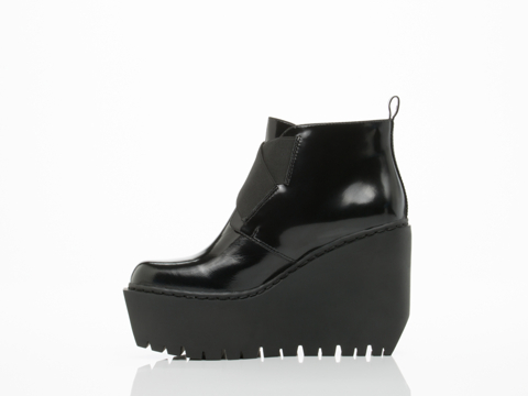 Opening Ceremony In Black Grunge Wedge Boot
