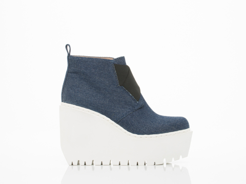 Opening Ceremony In Eclipse Blue Denim Grunge Wedge Boot