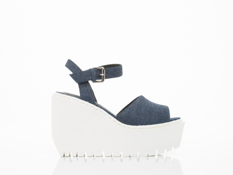 Opening Ceremony In Eclipse Blue Denim Grunge Wedge Sandal