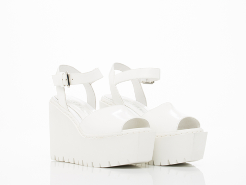 Opening Ceremony In White Grunge Wedge Sandal
