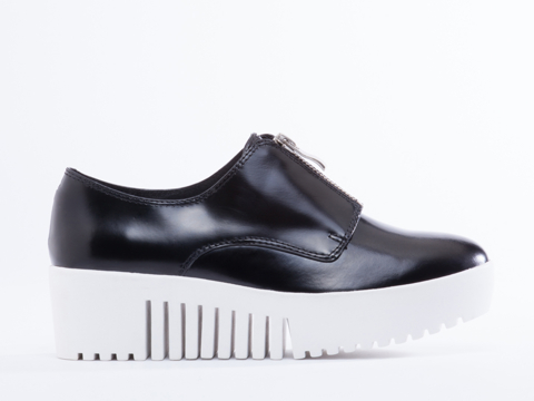Opening Ceremony In Black Shiny Calf Grunge Zip Front Platform Oxford