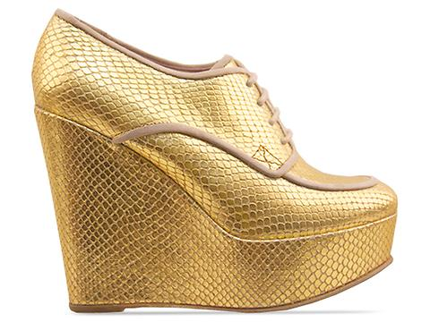 Opening Ceremony In Gold Metallic Snake Penny Oxford Platform