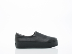 Opening Ceremony In Black Leather Slip On Platform Sneaker