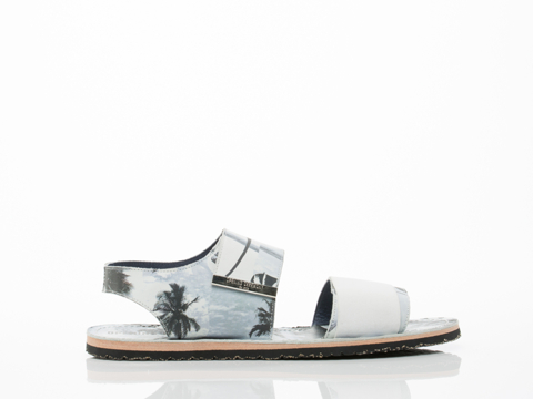 Opening Ceremony In Black Multi Printed Calf Leather Velcro Strap Sandal Mens