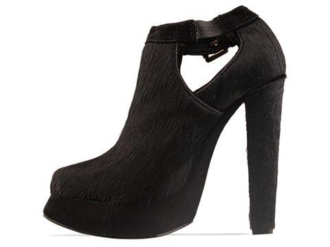 Plomo In Black Pony Black Suede Julieta Heel