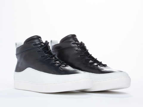 Public School In Black White Leather Mid Top Mens