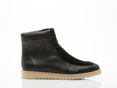 Rollie In Black Leather Suede Bellow Wedge Boot Mens