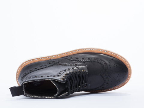 Rollie In Black Leather Brogue Thick